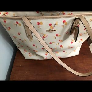 Coach Cherry Print City Zip Tote